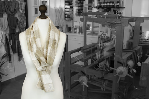 Brown and beige stripe handwoven organic scarf made with organic cotton and organic linen