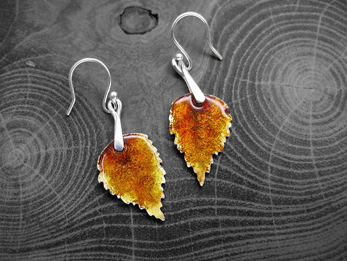 Autumn Birch - Recycled Silver and Enamel Leaf Earrings