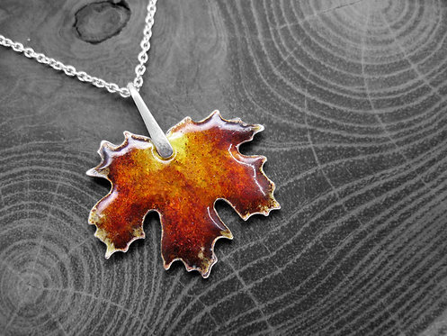 Autumn Maple - Recycled Silver and Enamel Leaf Necklace