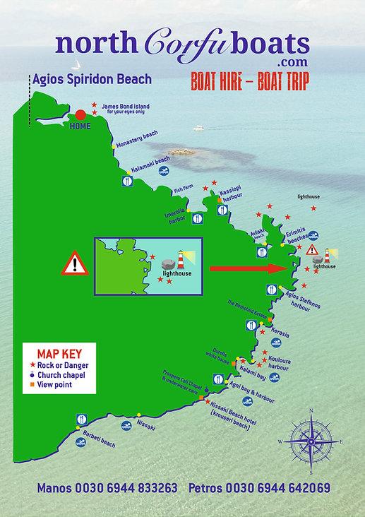 north corfu boats map
