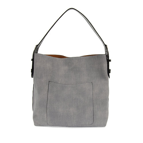 Joy Susan Faux Linen Hobo Handbag - Grey
