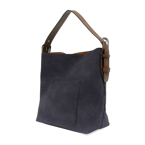 Joy Susan Faux Linen Hobo Handbag - Navy
