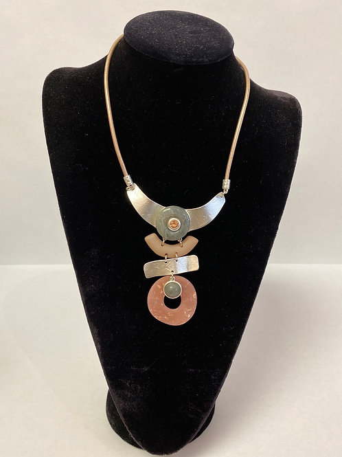 Acrylic and Metal Abstract Necklace