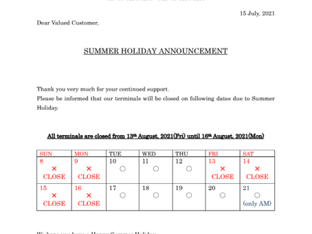 Announcement of summer holiday schedule by ECL shipping agency