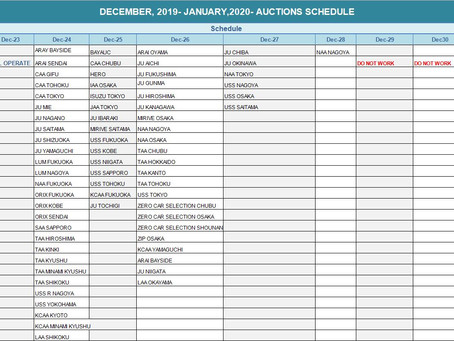 JAPANESE USED AUTO AUCTION SCHEDULE FOR DECEMBER-JANUARY (2019-2020)