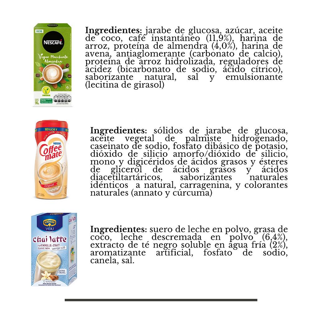 Ingredientes, té, café y crema