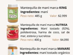 Comparación de mantequillas de maní
