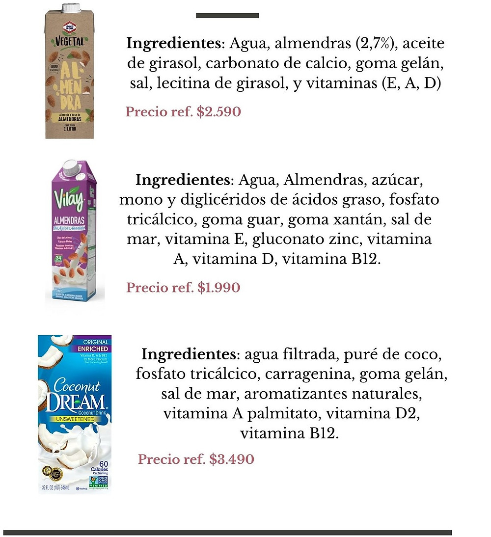 Lonco Leche Vegetal, Vilay Almendras, Coconut Dreams - Nutricionista Online Karina Herrera
