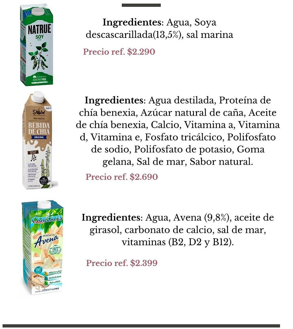 Natrue soy, Sow Bebida de Chia, Quillales Bebida de avena - Nutricionista Online Karina Herrera