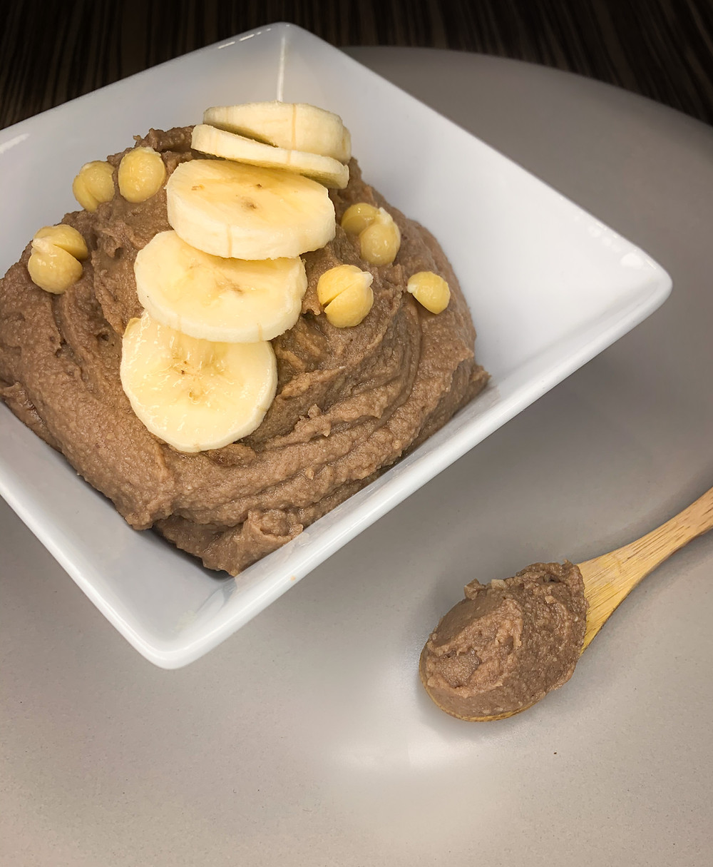 Hummus de plátano y cacao - Nutricionista Online Karina Herrera
