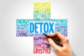 DETOX word cloud, health cross concept.j