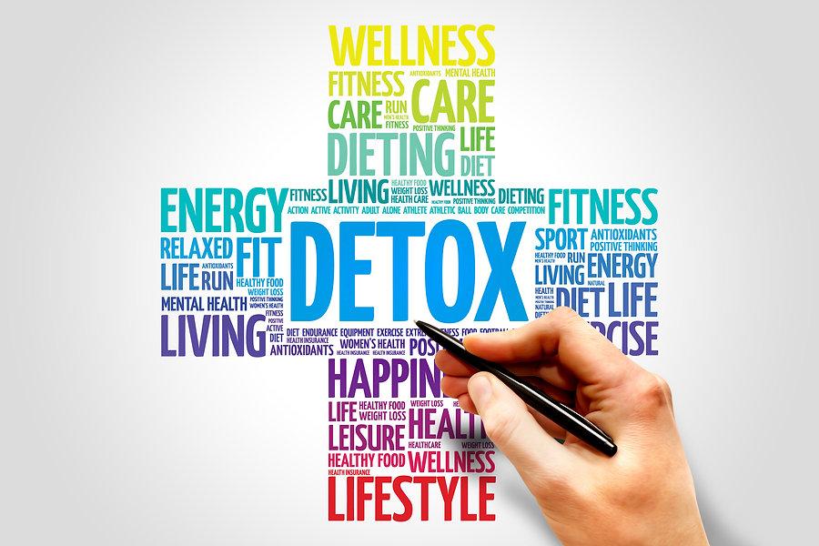 DETOX word cloud, health cross concept.j