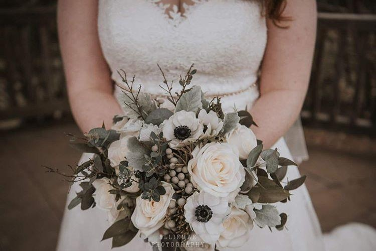 White & Grey Bridal Bouquet