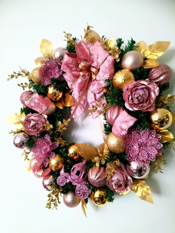 Luxe Pink and Gold Christmas Wreath