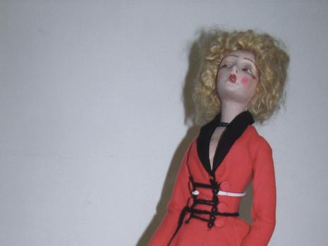 "22"" Felt Smoker Boudoir Doll- Possibly Lenci"