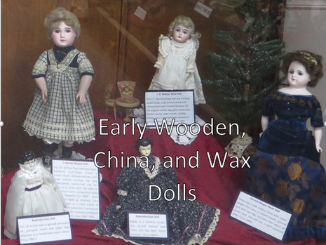Dolls are often categorized by the material of which they are made. This can be a key indicator of their age. Dolls made of wood are among the oldest.     Wax because it is soft, translucent and malleable has been used for dolls as far back as the Egyptians and Romans.  Reinforced wax dolls of the 1800's relied on using a doll head of paper mâché that was then coated with wax.      By the 1860's bisque dolls made of unglazed porcelain came into fashion. Before that, dolls were made of glazed porcelain giving the head a shiny appearance, but bisque allowed a more realistic skin tone. These dolls often had leather or cloth bodies. They were made through the early 1900s until composition became the more popular material.      Dolls with composition heads consisted of mixture of glue mixed with sawdust that was heavier and denser than paper mâché heads.  Unbreakable compared to German bisque or porcelain dolls, these dolls helped make America the premier dollmaking country of the early to mid -20th century.      Hard plastic caused the demise of composition dolls in the 1940s. Hard plastic dolls didn't break if they were dropped, didn't catch fire like celluloid and the finish wouldn't be ruined if it got wet.