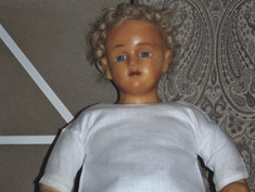 """18"""" Poured Wax Doll- Unknown Maker"""