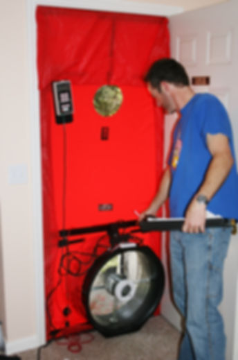 A blower door test