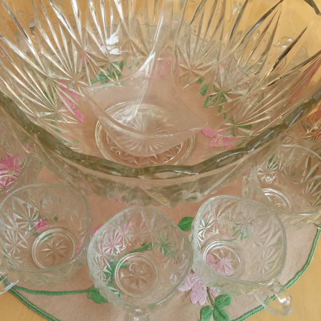 Large Glass Punch Bowl