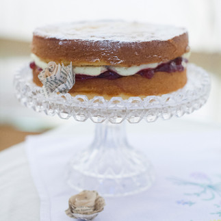 Footed Glass Cake Plate (8''-9'')