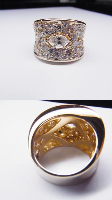 K18ブラウン/ホワイトダイヤリング