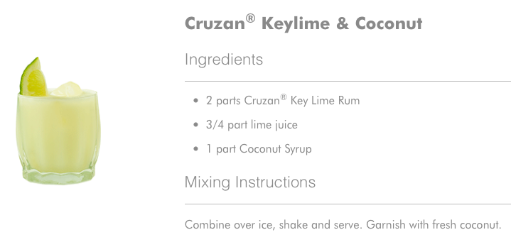 Cruzan Keylime and Coconut Cocktail