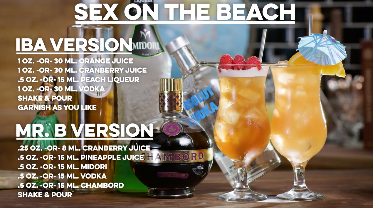 Sex on the Beach - IBA Version and Mr. B Version Cocktails