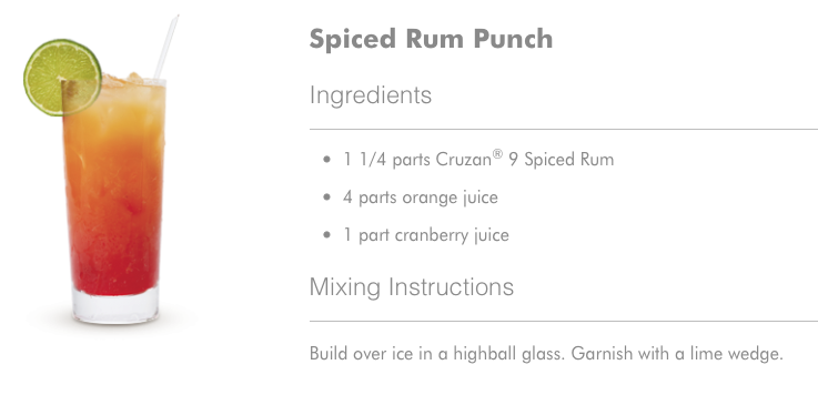 Spiced Rum Punch Cocktail