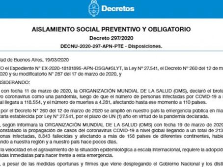 Coronavirus: éste el decreto que declara la cuarentena total