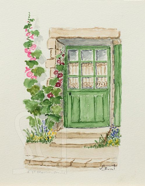 Green Door with Flowers
