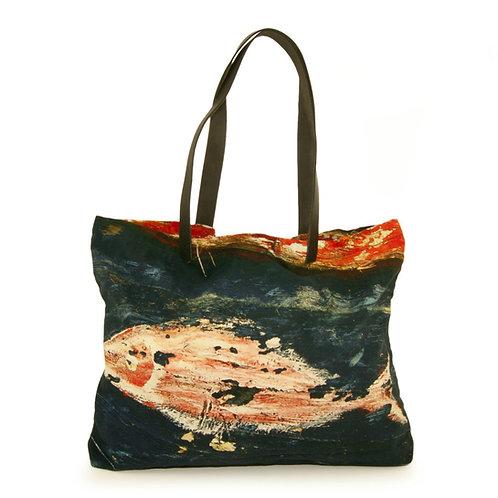 Black Fish Tote Handbag