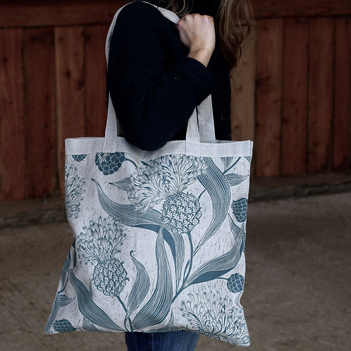 Screen Printed Linen Shoulder Bag
