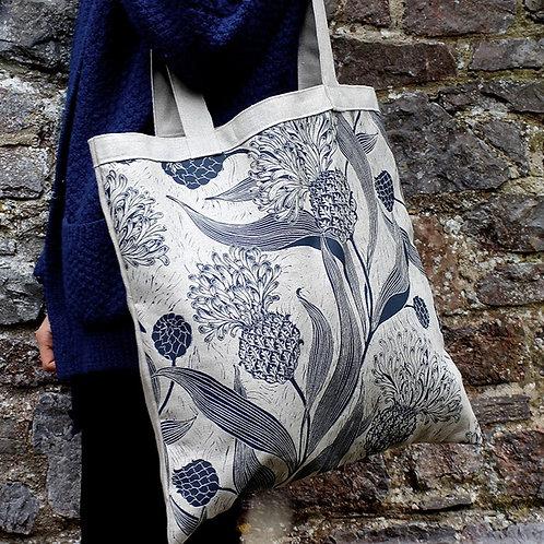 Hand screenprinted linen shoulder bag