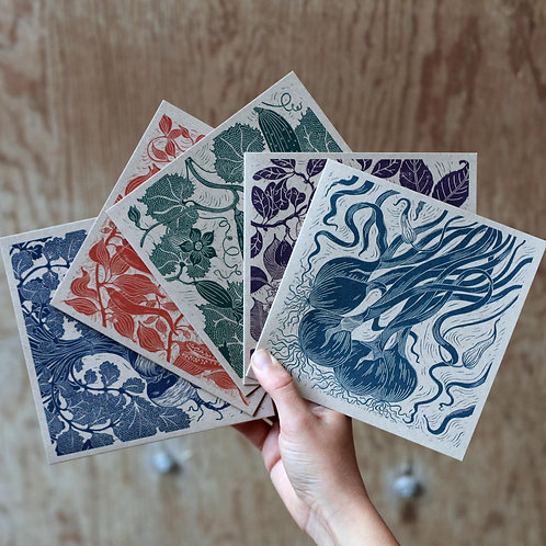 Pack of 5 Fruit & Vegetable Linocut Cards - Collection 2