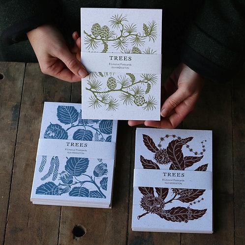 Trees - 8 Linocut Postcard Set