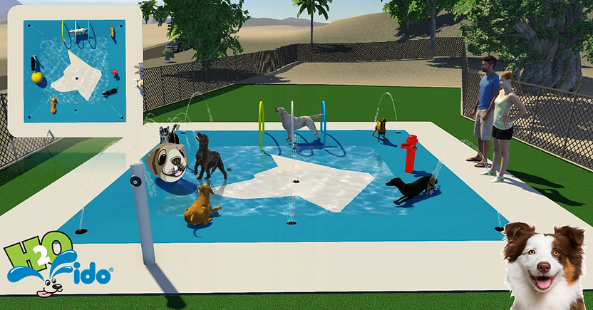 water park for dogs with spray hoops and fire hydrant