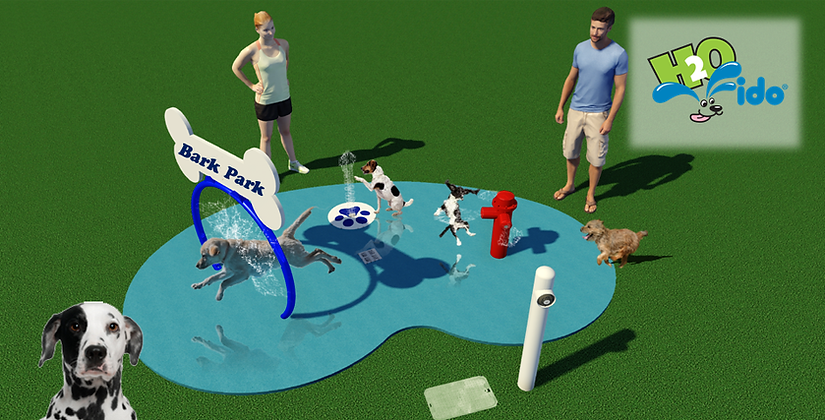 small splash pad for dogs with a hoop and fire hydrant