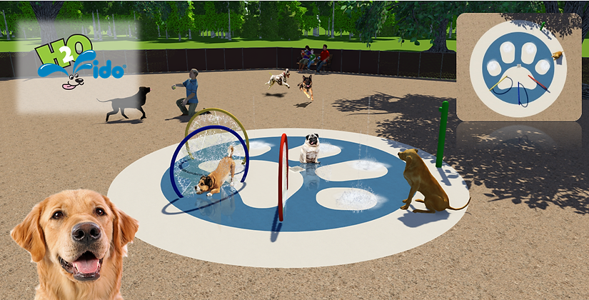 small doggie splash pad design with hoops