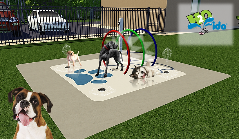 small design of a splash pad for dogs with spray hoops