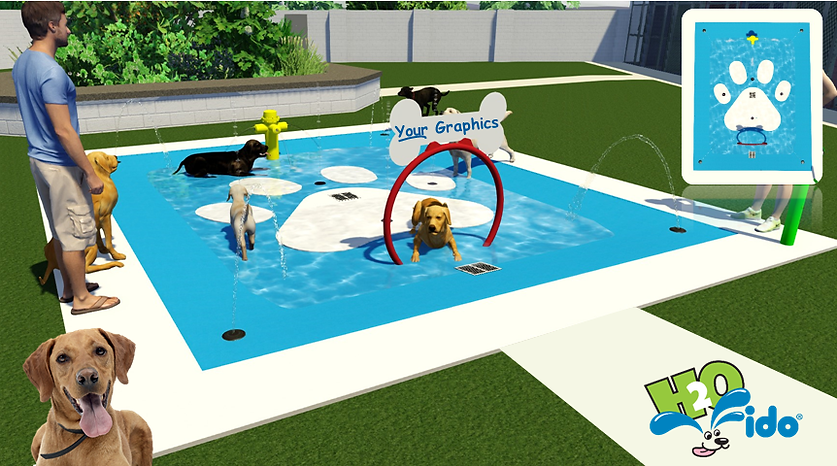 splash park design for dogs with hoops and fire hydrant