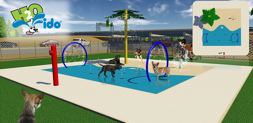 beautiful water park design for dogs