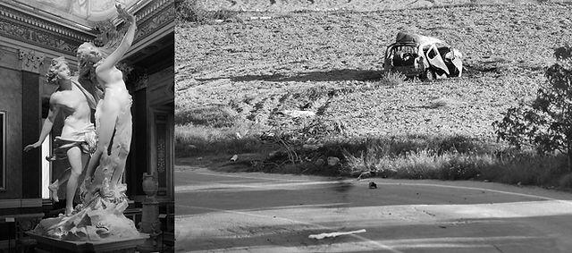 Bildnachweis: Marmorplastik © Gian Lorenzo Bernini, Apollo et Daphne, 1622–25, Galleria Borghese, Rom. Image Wikimedia Commons  Bild mit verunfalltem Auto - ein herzliches Dankeschön an Rene Rossignaud © Image Rene Rossignaud  