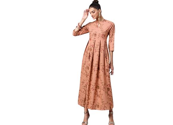 Gold print maxi dress