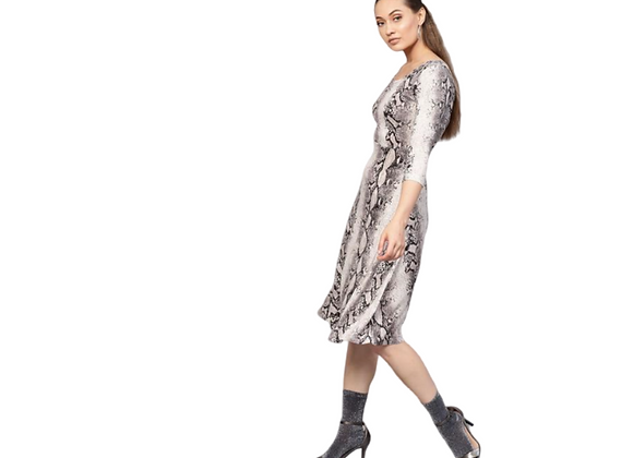 Python Flared Midi Dress