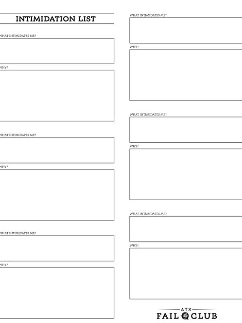 Intimidation List Worksheet - Digital Download