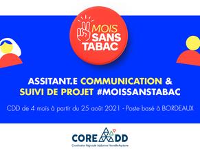CDD 4 MOIS - ASSITANT·E COMMUNICATION & SUIVI DE PROJET #MOISSANSTABAC