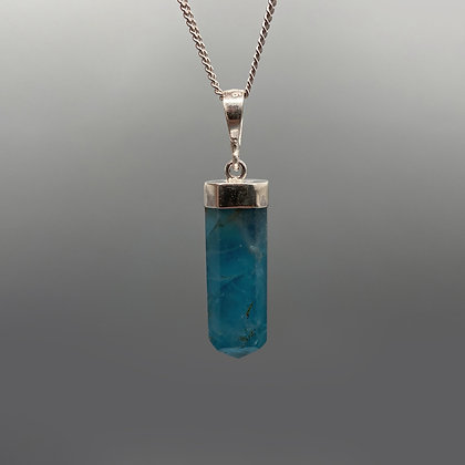 925 Sterling Silver Blue Fluorite Crystal Pendant (No chain included)