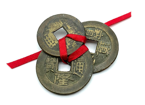 Three Antique Chinese Feng Shui Lucky Coins