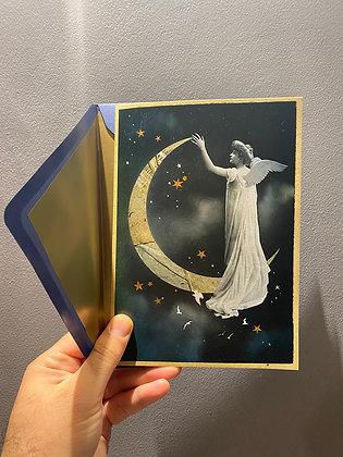 1 Vintage Paper Moon Angel Greeting Card