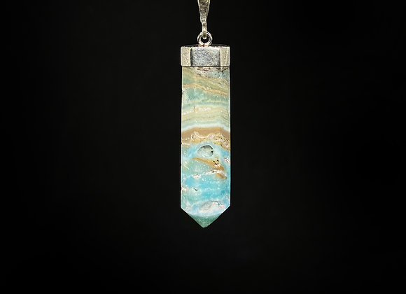 925 Sterling Silver Blue Aragonite Crystal Pendant (No chain included)